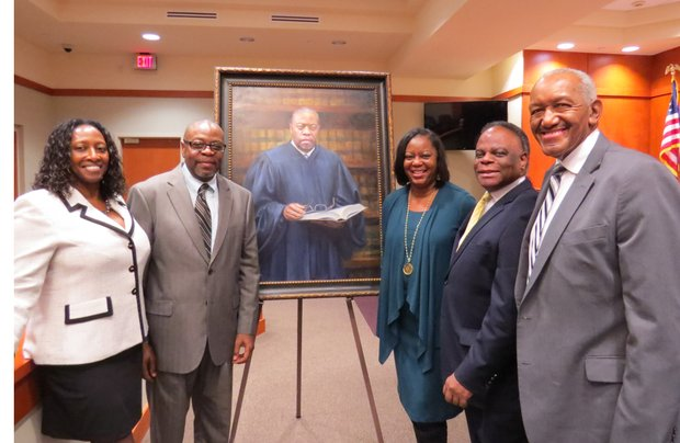 DeKalb Superior Court Judge Michael Hancock  pose with DeKalb Lawyers Association co-founders Genet Hopewell [left] and Mereda Davis Johnson; Fulton County Public Defender Vernon Pitts, Jr., and DeKalb NAACP President John Evans.