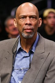 Kareem Abdul-Jabbar attends a Nov. 20 game between the Los Angeles Lakers vs. the Toronto Raptors at Staples Center. (AP photo)