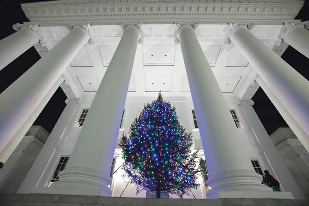 Virginia's Christmas tree now decorates the South Portico of the State Capitol. Gov. Terry McAuliffe and his wife, First Lady Dorothy S. McAuliffe, lit the tree during a ceremony last Thursday. The Executive Mansion also is decked out for the holidays, with decorations celebrating the state's woodlands and commemorating the state Department of Forestry's 100th anniversary. The mansion where the first couple lives is open to visitors for extended hours during the holidays. Details: www.executivemansion.virginia.gov/events/