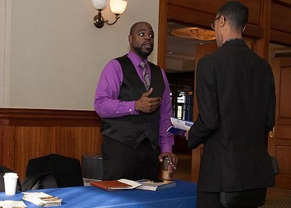 Kyheem Davis, Secretary for National Organization of Black Law Enforcement Executives Central NJ Chapters speaks with Corey Pinkey. Pinkey is a Rowan University Junior majoring in Law & Justice. He works part-time for the Glassboro Police Department and is seeking full-time employment in a larger department because of the speciality units they offer.