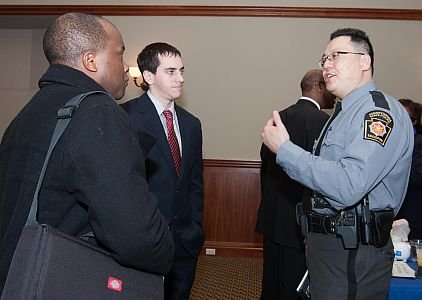 Left to Right: Applicants Tyler Peter and Russell Smith and Pennsylvania State Trooper and Southeast Recruitment Coordinator, Yao-Ming Chen