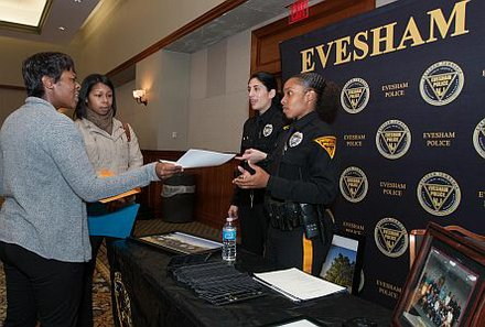 Left to Right: Applicants, Tanisha Brown and Jessica Edwards with Evesham Police Patrolman, H.Leah and J. Lettieri
