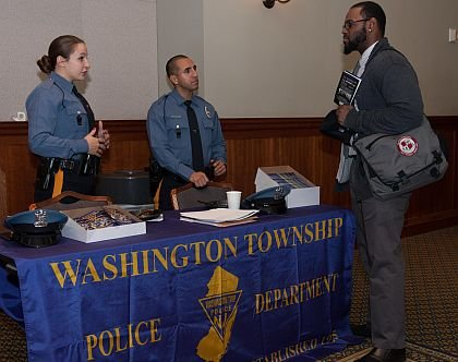 Left to Right: Officers, Jessica Walton and Oscar Mendez with Applicant, Thomas Bridges. Thomas is a graduate from Kean University and Physical Education Teacher.