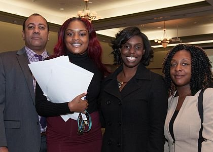 Left to Right: Special Agent and Recruitment Coordinator NJ Division of Drug Enforcement Administration, Anthony P. Jennings with applicants, Brandi Legion, Kapree Clarke and Kyana Evans