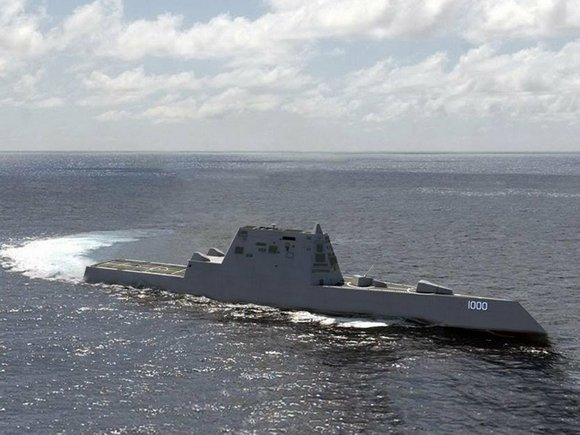 The advanced guided missile destroyer, which boasts stealth capabilities and will one day help support Special Operations forces, responded on ...