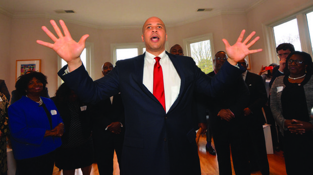 An effective communicator, New Jersey Sen. Cory Booker makes a pitch for supporting and getting involved with the Hillary for Clinton Campaign during a stop at the home of Shelby County Commissioner Walter Bailey and his wife, Carolyn. (Photo: Tyrone P. Easley)