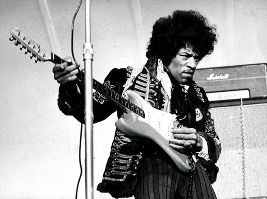 Jimi Hendrix, the most influential guitarist in rock music history, who distinctly added to the genre's then speeding comet with ...