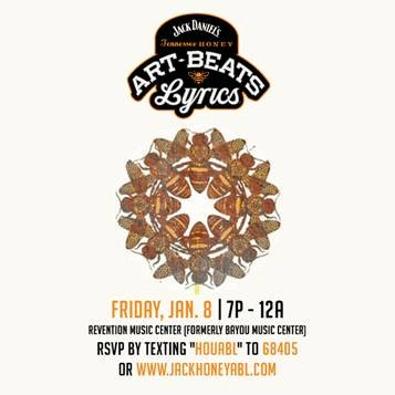 Art, Beats and Lyrics, the traveling art and music tour presented by Jack Daniel's Tennessee Honey and Gentleman Jack, is ...