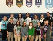 Troy Middle School students who received Judges' Choice awards at the IESA Speech State Competition are, top row from left, (Assistant Coach Shari Pagel), Sarah Babyak, Kathryn Epling, Delaney Peter, Paige Minor, Mary Dixon, ( Coach Wayne Barry).Bottom from left: Louisa Schwab, Melina Medina, Juliana Byrne, Joie Egizio, Jemma Newby, Kierra Posteluk.