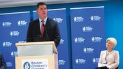 Boston mayor Martin J. Walsh talks at Boston Children's Hospital about the city's efforts to boost the support to companies and startups in the digital health sector. In the background is Sandra Fenwick, president and CEO of Boston Children's Hospital.