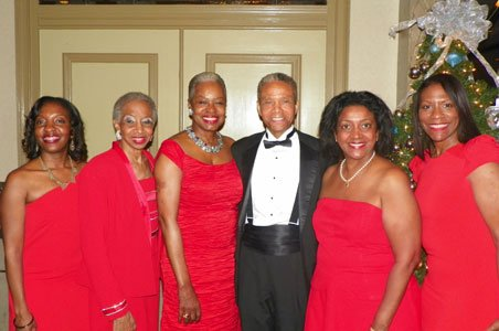 Dr. Tasha Franklin Johnson, Christmas Gala Co-Chair; Gwendolyn A. Lindsay, 1st Vice President and Chair, National Ad Hoc Documents Review Committee; Edna Lee Moffitt, National President; Lewyn Scott Garrett, Memorial Award Recipient; and Lynetta Parker, Christmas Gala Chair and 2nd Vice President.