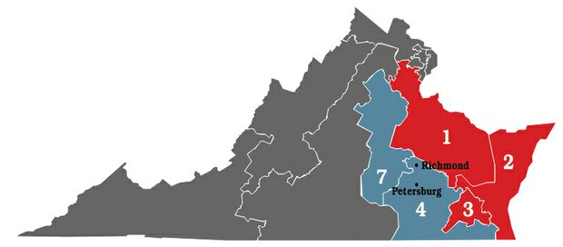 This map shows the new look of the five congressional districts whose boundaries have been altered by a three-judge panel.