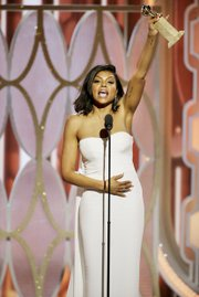 """Empire"" star Taraji P. Henson takes a moment to thank the people who helped her career in winning the Golden Globe Award for best actress in a TV series or drama."