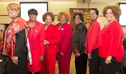 New Jersey Garden City Charter Members of Delta Sigma Theta  Sorority, Inc. attend in large numbers. Pictured from left to right: Julie Peterson, Lorene Moore, Faye Reese Clark, Lizziel Sullivan, Ernestine Simpson, Audreen Pittman, and Andrea Austin-Brundage.