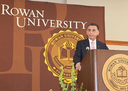 Rowan University President Dr. Ali A. Houshmand  welcomes guests and shares his passion for education.