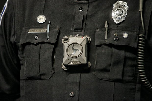 This close-up of the body camera worn by Richmond Police Officer Scott Land shows the size of the cameras being used starting this week by officers at the Fourth Precinct in North Side.