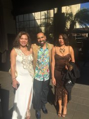 """Lawrence """"Boo"""" Mitchell, his wife Tanya Mitchell (white dress), and his sister, Royal Studios co-owner Oona Mitchell as they left their hotel on the way to Monday night's Grammy Awards ceremony. (Courtesy photo)"""