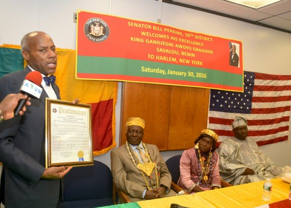 Senator Bill Perkins held a public welcome ceremony for His Excellency Gandjegni Awoyo Gbaguidi, King of Savalou, Benin.