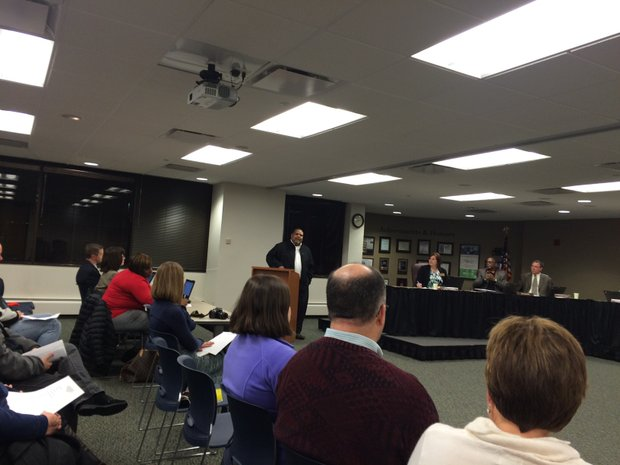 Pastor Craig Purchase addresses the JTHS 204 school board.