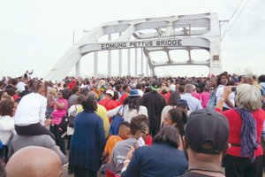The Selma to Montgomery National Historic Trail commemorates the events, people and route of the 1965 Voting Rights March in Alabama, including the Edmund Pettus Bridge, which was flooded with people on the 50th anniversary of Bloody Sunday.