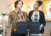 Dr. Tanya Clark and Dr. Channelle Rose, Co-Coordinators of Rowan University's African Studies program give remarks.