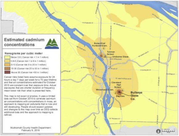 New data from air and soil samples collected around Bullseye Glass Co. in southeast Portland and Uroboros in north Portland, ...