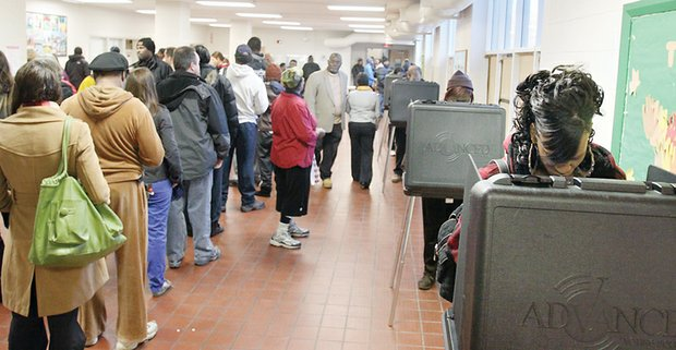 Richmond voters stand in line at the Randolph Community Center to cast ballots in the November 2012 presidential election.