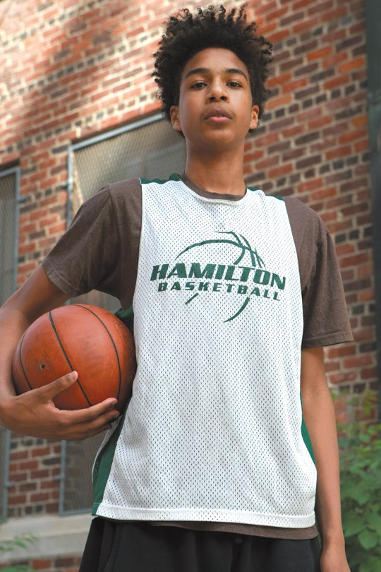"Jermaine Camacho-Small is a lean 6'7"" center on Hamilton High School's basketball team. With that type of heighth, he has ..."