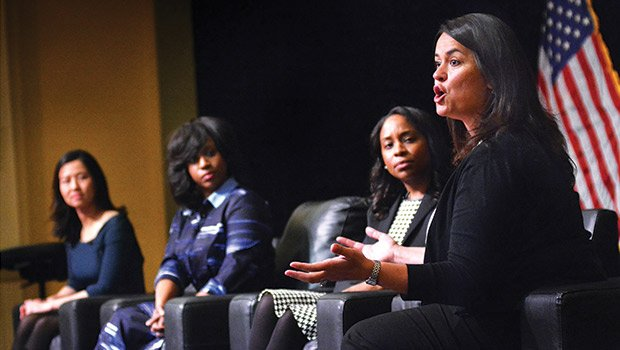 """Boston City Councilor, Annissa Essaibi George (r) speaks out at a forum hosted by Sheriff Steve Tompkins at Hibernian Hall focusing on """"Directions for Corrections."""" Joining George are (l-r) Michelle Wu, Pres. Boston City Council, Ayanna Pressley, councilor at large and Andrea Joy Campbell, councilor District 4. Close to 400 people were in attendance listening to the Councilors take on many of the issues concerning the citizens of Boston, such as housing, violence, drug use and law enforcement."""