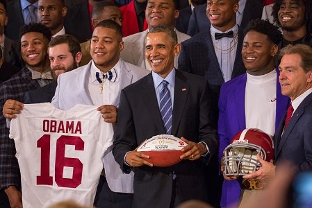 During the annual celebration of the college national football champion at the White House, President Barack Obama joked Wednesday that ...