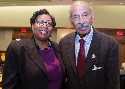 Denise Wiliams, Coordinator of Events for Africana Studies at Rowan University with Congressman John James Conyers, Jr.