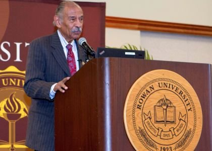 Keynote speaker, Congressman John James Conyers, Jr. addressing the crowd at the Rowan University Africana Studies 11th Annual Rosa Parks Luncheon.