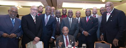 Brothers from Kappa Alpha Psi Fraternity Incorporated poses with fellow brother, Congressman John James Conyers, Jr. The Kappa Alpha Psi were represented from chapters in Atlantic City, Burlington-Camden, and Trenton, NJ and Philadelphia, PA