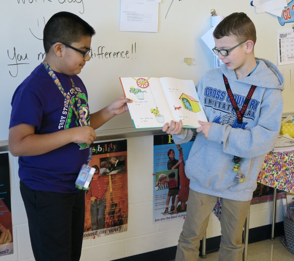 William B. Orenic Intermediate School fifth-graders recently completed a literacy community service project with Marycrest Early Childhood Center.