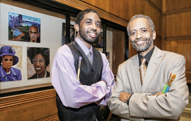 "Jerome W. Jones Jr., right, and his son, Jeromyah, stand by a display in the state's Patrick Henry Building on Capitol Square of portraits they completed as part of their ""Ingenious Artistic Minds (I AM)"" collection. Their work will be on exhibited through Thursday, March 31."