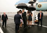 President Barack Obama, First Lady Michelle Obama, daughters Malia and Sasha greets dignitaries upon arrival in Havana, Cuba, Sunday, March 20, 2016. (Official White House Photo by Pete Souza)
