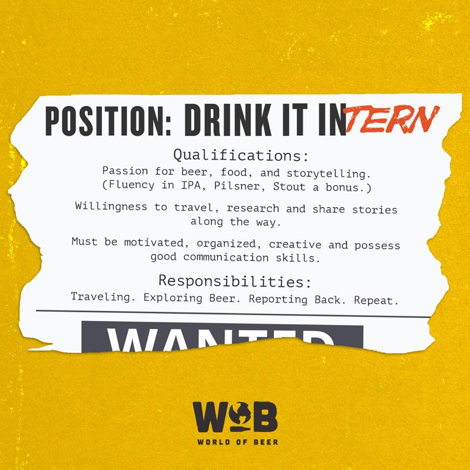 dream internship traveling drinking beer in job description