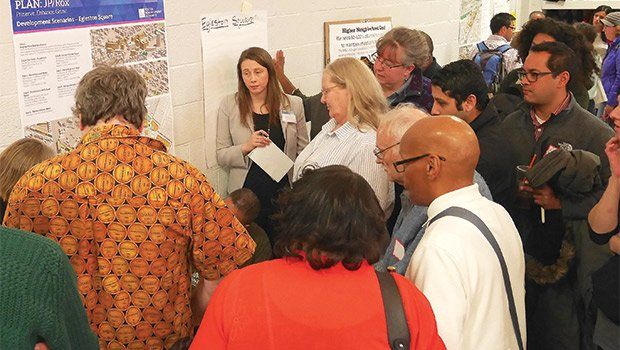 At a March 5 community workshop for the JP/Rox planning process, a crowd of community members gathered at a breakout station to discuss Egleston Square development scenarios.