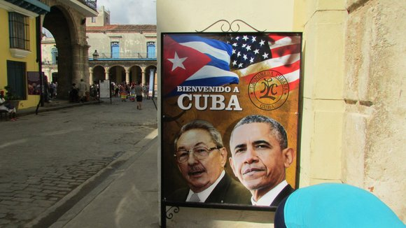 President Barack Obama meets with President Raul Castro of Cuba to further discuss diplomatic relations.