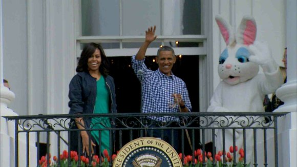 Storm troopers, presidential displays of athleticism and that looming bunny -- just another Easter Egg Roll on the White House ...