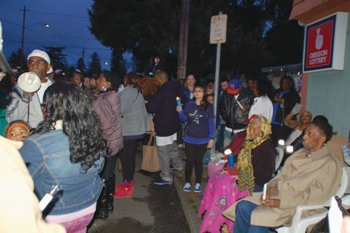More than three dozen people came together for a vigil Thursday night to remember a member of Portland's black community who was hit and killed by an alleged drunk driver while trying to cross a dangerous section of Cully Boulevard in northeast Portland. The group joined neighbors in demanding long overdue safety improvements for the street.