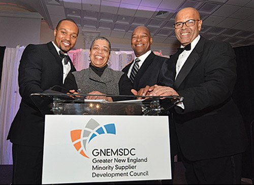 In attendance at the Greater New England Minority Supplier Development Council 41st annual gala dinner were (l-r) Darren Haynes, ESPN sports anchor; JoAnn Price, Managing Partner of Fairview Capital Partners; Darryl Settles, Boston developer and owner of Darryl's Corner Bar & Kitchen; and Peter Hurst, President and CEO of GNEMSDC. Nearly 400 people gathered at the Aqua Turf Country Club in Plantsville, Conn., on Thursday evening to celebrate entrepreneurs of color and their corporate partners.