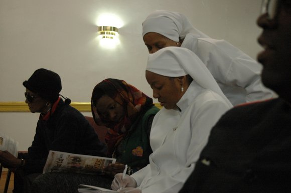 The National Spokesperson for Nation of Islam's Minister Louis Farrakhan addressed the people by webcast screened at Mosque Number 7.