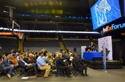 The first of many press conferences for new Tigers' head coach Tubby Smith. (Photo: Tyrone P. Easley)