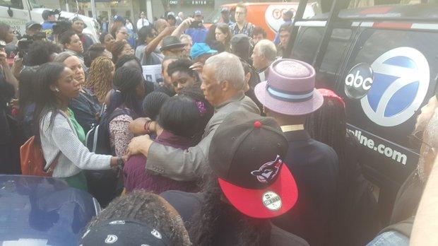 Scene outside Brooklyn courtroom as verdict announced on Akai murder case.