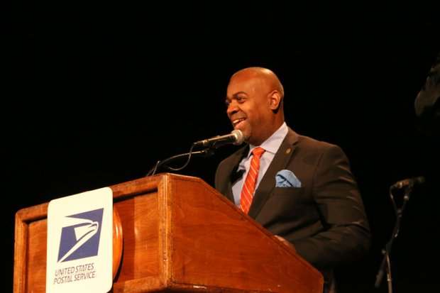 Newark Mayor Ras J. Baraka spoke during the Sarah Vaughan Postal Stamp Unveiling Ceremony at Symphony Hall in Newark.