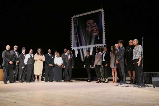 Family and friends of Newark native and world-renowned jazz singer Sarah Vaughan stood onstage at Newark Symphony Hall as the U.S. stamp of Sarah Vaughan was initially unveiled to the public.
