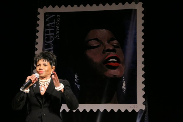 Popular Newark native, singer Melba Moore performed during the Sarah Vaughan Postal Stamp Ceremony at Newark Symphony Hall.