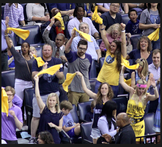 Despite the loss, there were ample opportunities for the crowd to cheer, including this moment with the Grizzlies grabbed a lead over the Spurs. (Photo: Warren Roseborough)