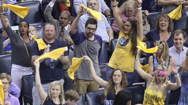 Fans waved their growl towels and cheered throughout Game 3 against the San Antonio Spurs. But it wasn't enough as the Grizz fell, 87-96. Game 4 is Sunday at noon. (Photo by Warren Roseborough)